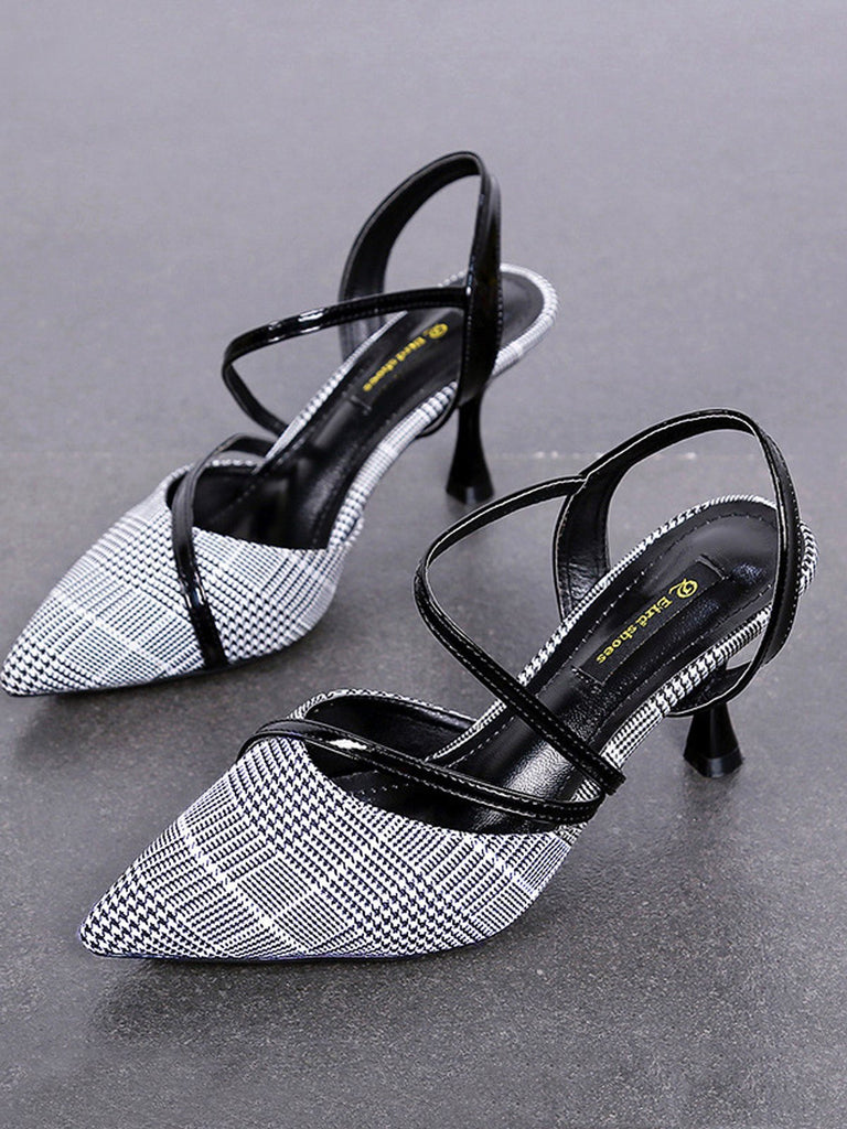 Vintage Plaid Mid Height Heel Sandals