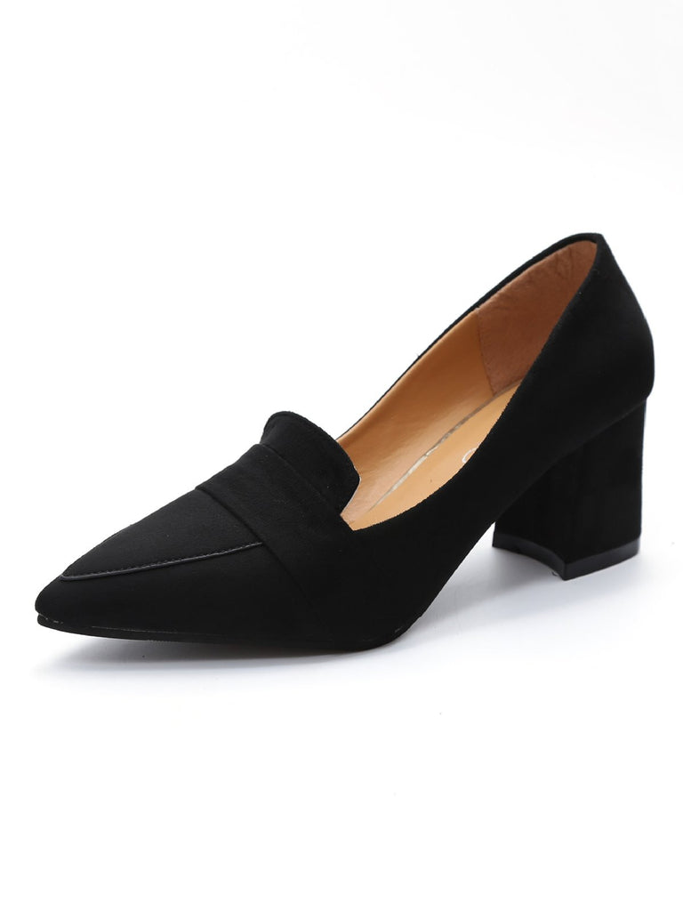 Vintage Pointed Toe Thick Heels Shoes