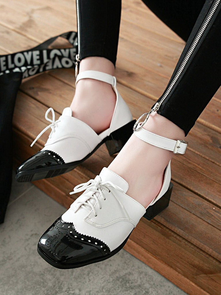 Vintage Soft Mid Thick Heel Lace Up Sandals