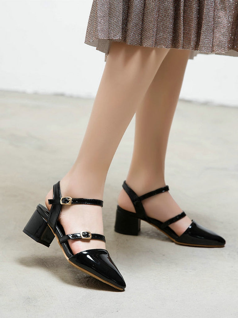 Vintage Thick Heel Ankle Strap Round Toe Sandals