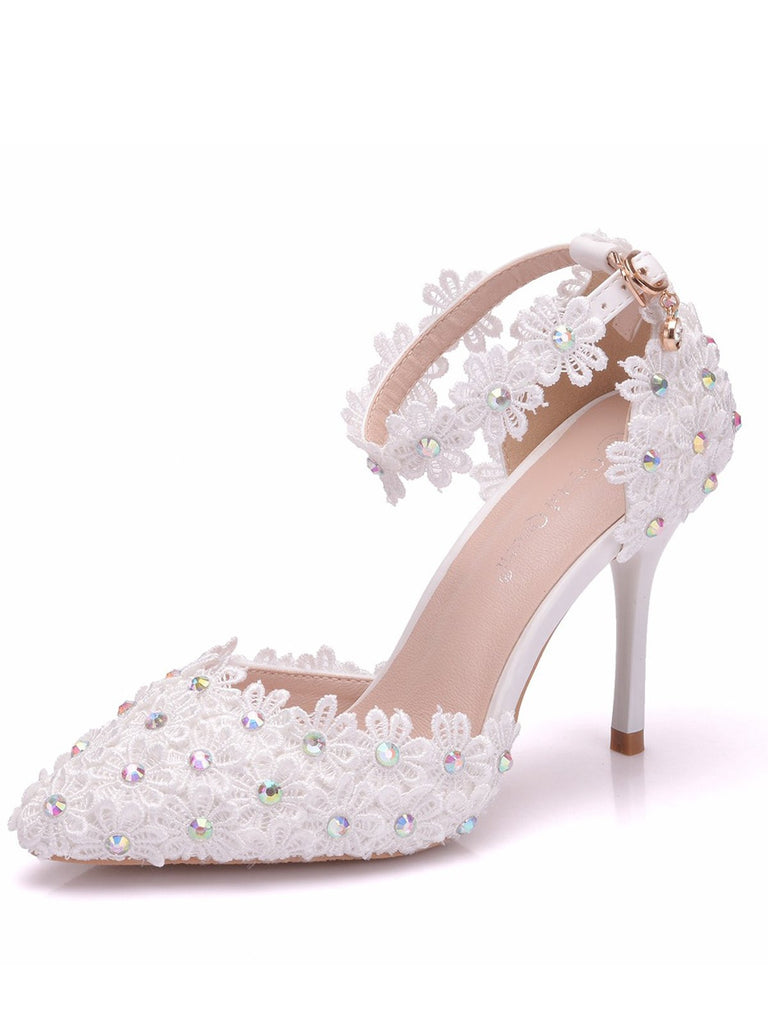 High Heel Lace Floral Strap Sandals