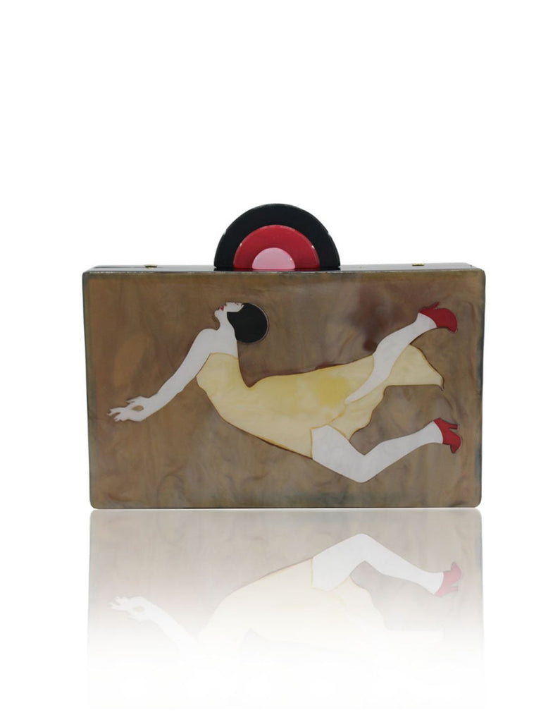 Brown Retro Acrylic Clutch Bag