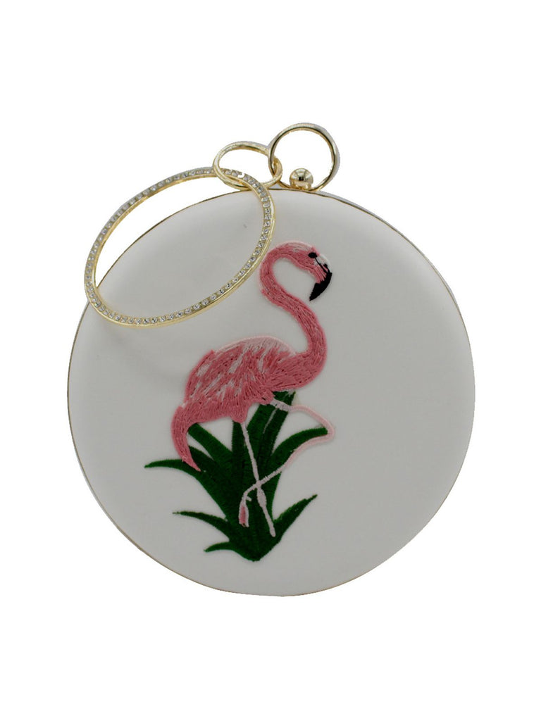 Flamingo Embroidery Round Clutch Bag