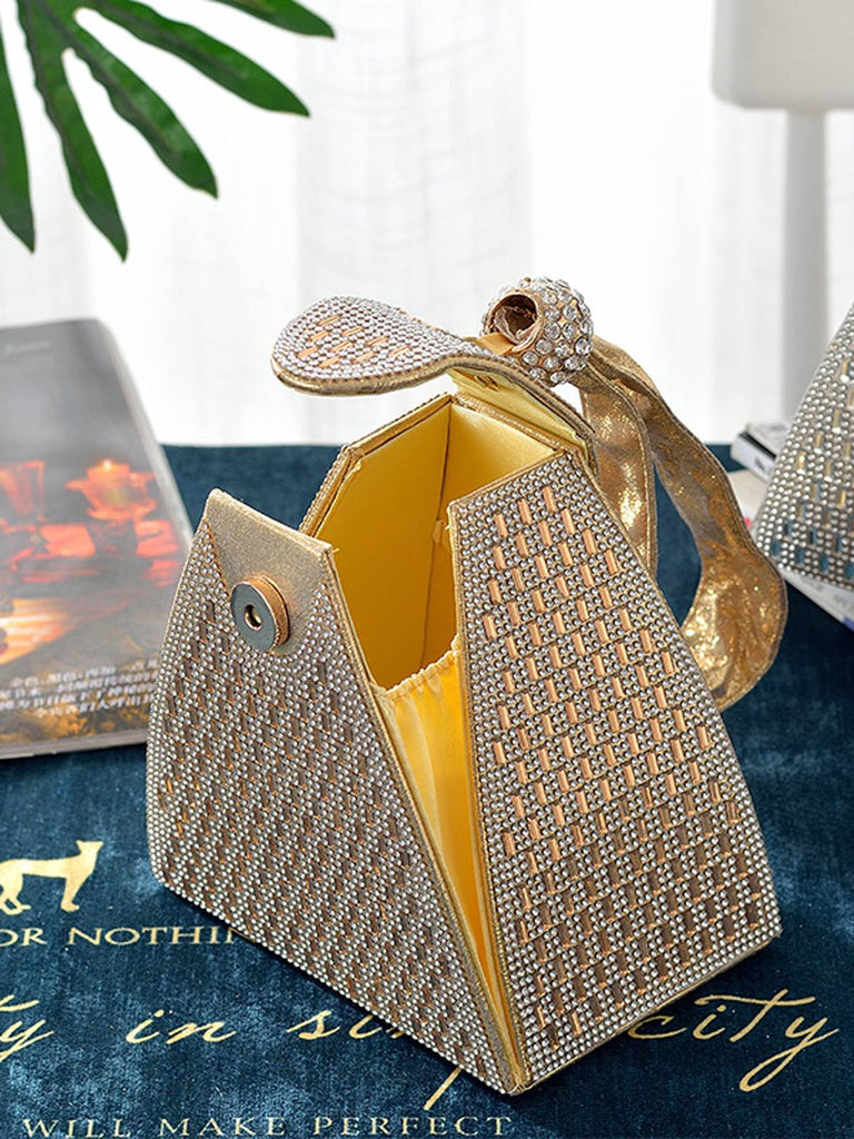 Rhinestone Decor Triangle Clutch Bag
