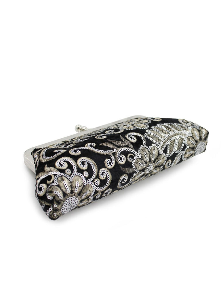 Velvet Embroidery Floral Clutch Bag