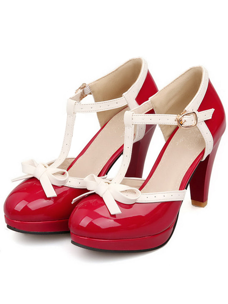 Retro Bow Décor High Heel Shoes
