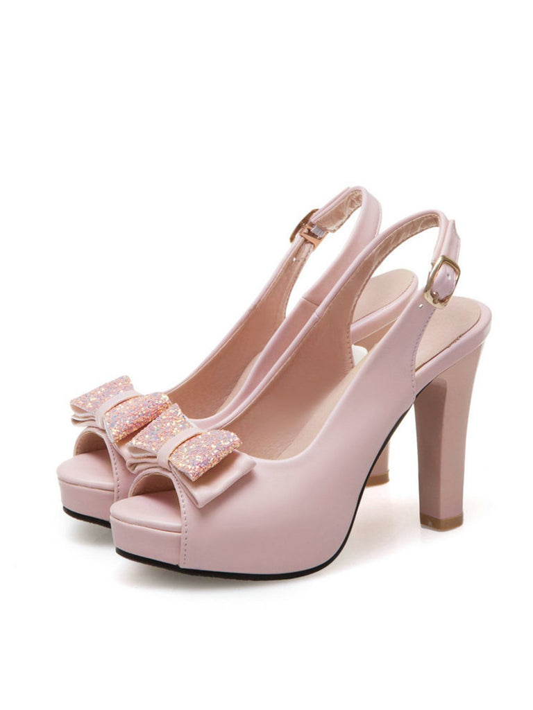 Retro Bow Slingback Peep Toe Shoes