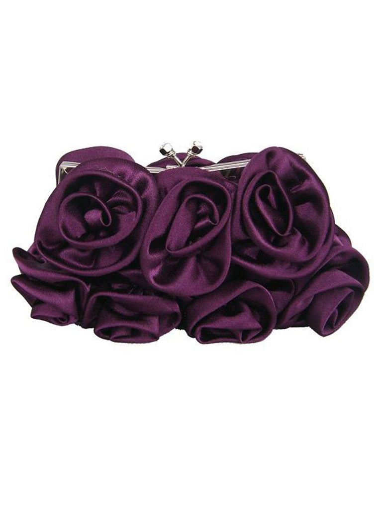 Retro Floral Rose Button Clutch Bag