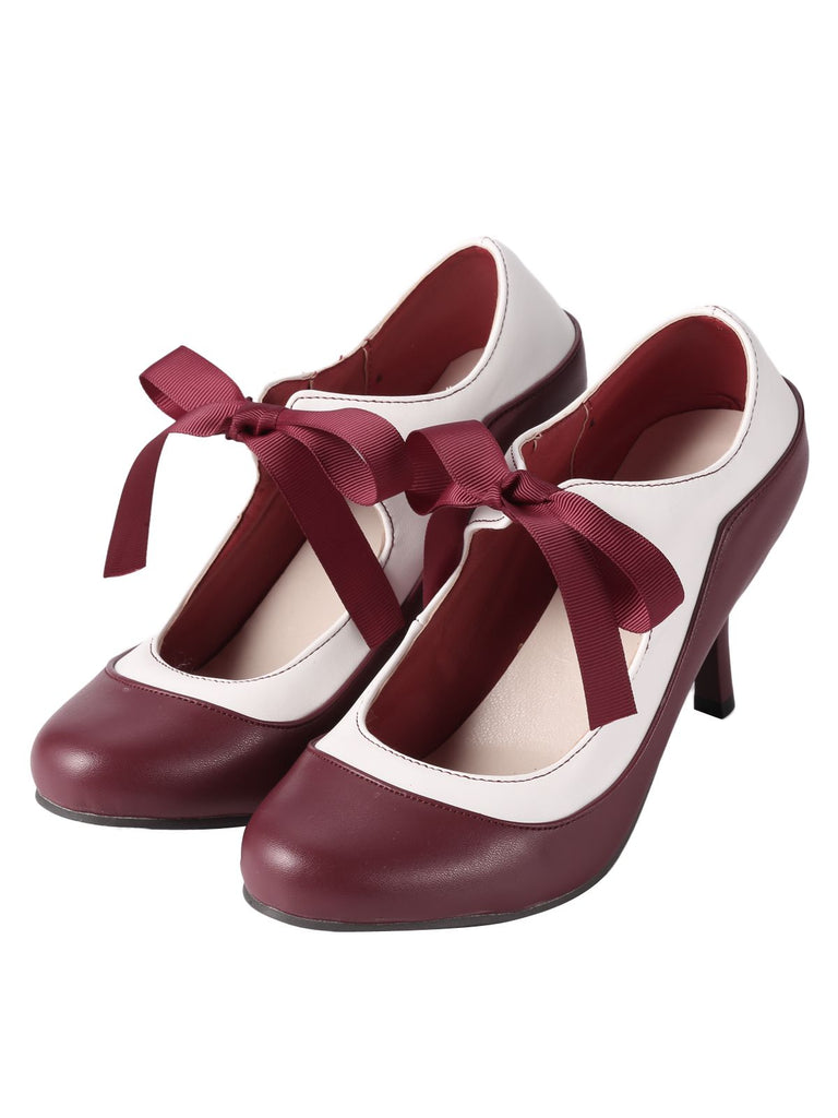 Retro Wine Red Lace-Up Stiletto Shoes