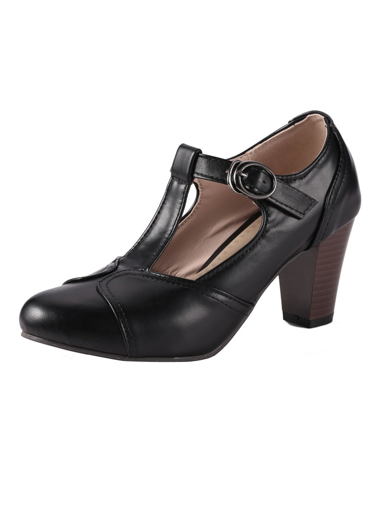 Retro Black T-Strap Chunky Heels Shoes