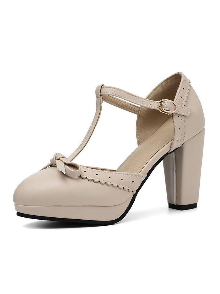 Retro Bow T-Strap High Heels Shoes