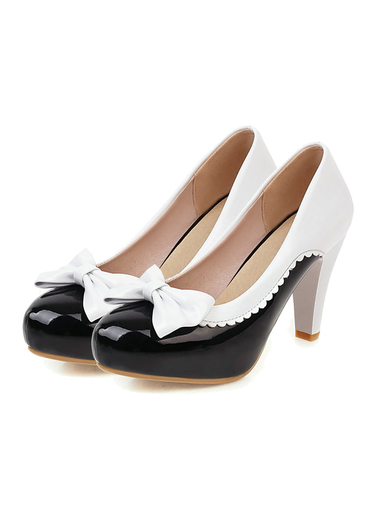 Retro Bowknot High Heels Shoes