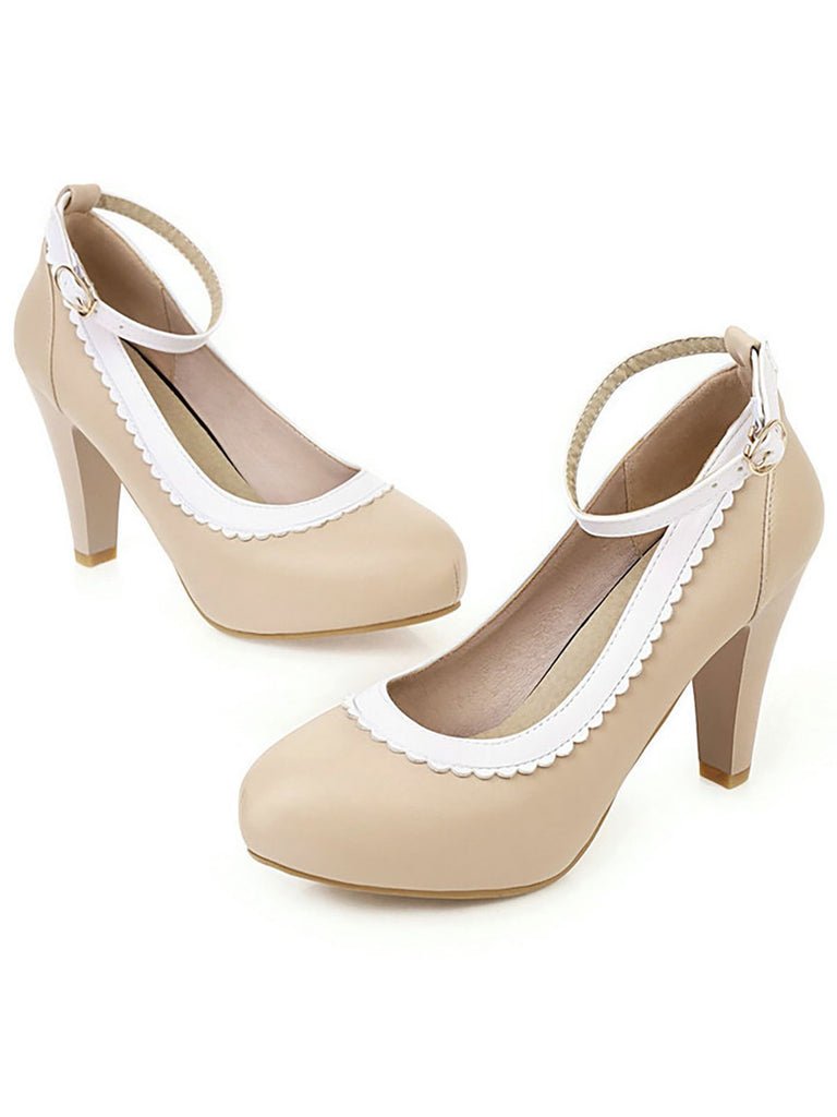 Retro Ankle Strap High Heels Shoes