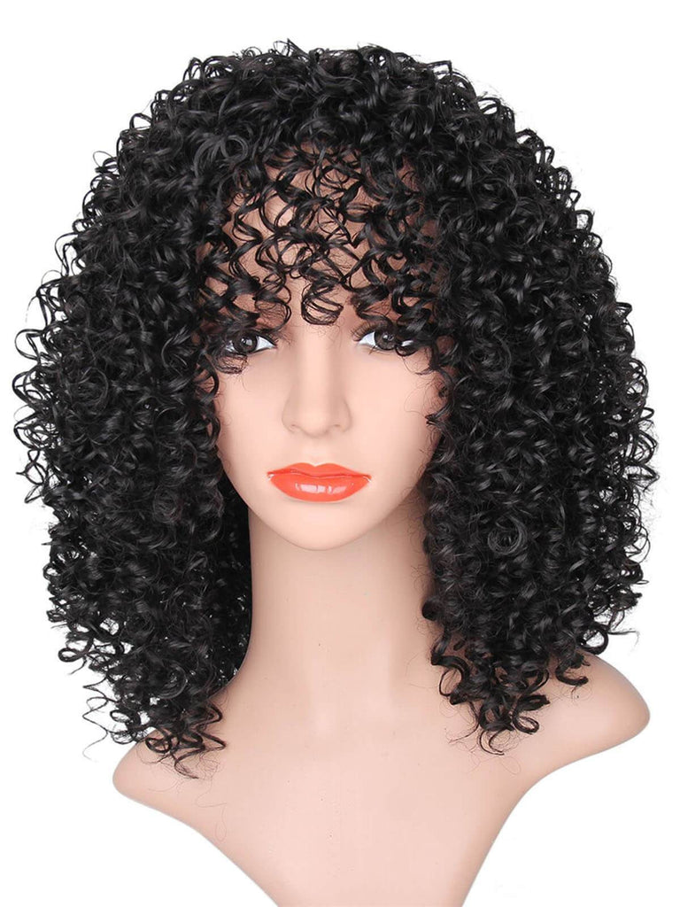 Vintage Medium Fluffy Afro Curly Synthetic Wig
