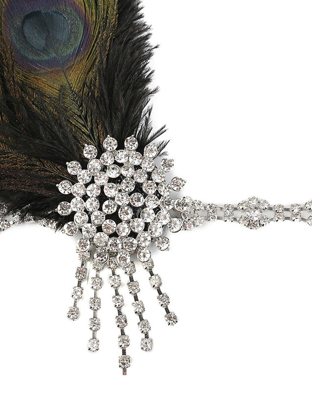 1920s Feather Rhinestone Headband