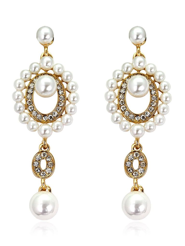 US Only 1920s Pearl Rhinestone Earrings