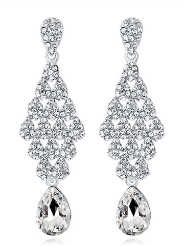 Silver 1920s  Rhinestone Earrings