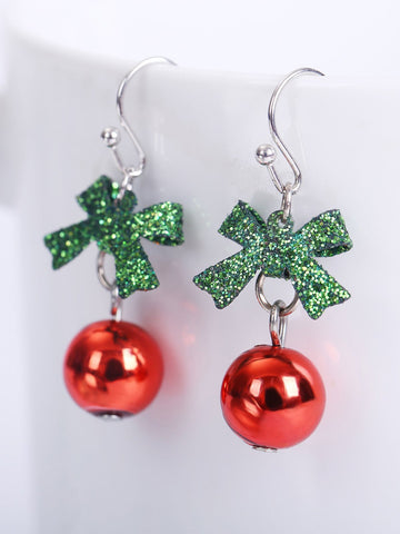 Christmas Bow Bead Drop Earrings