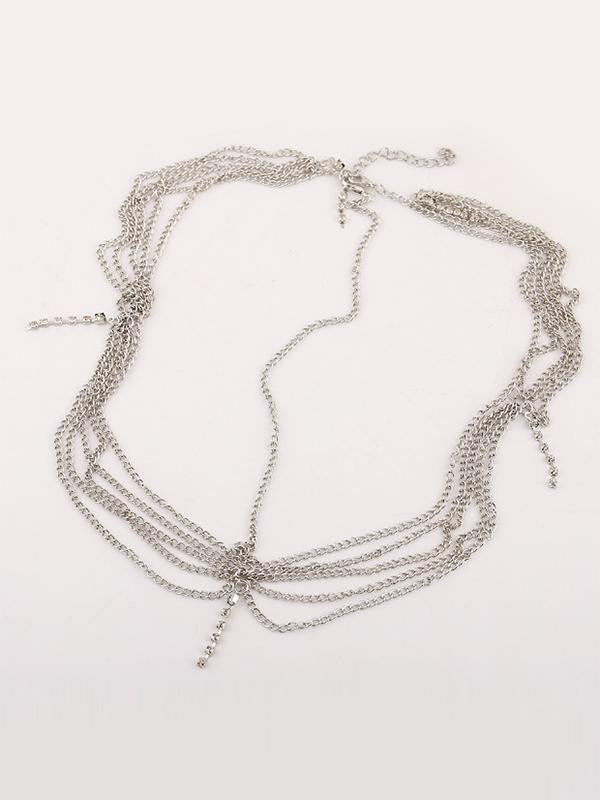 Multilayer Tassel Rhinestone Forehead Chain