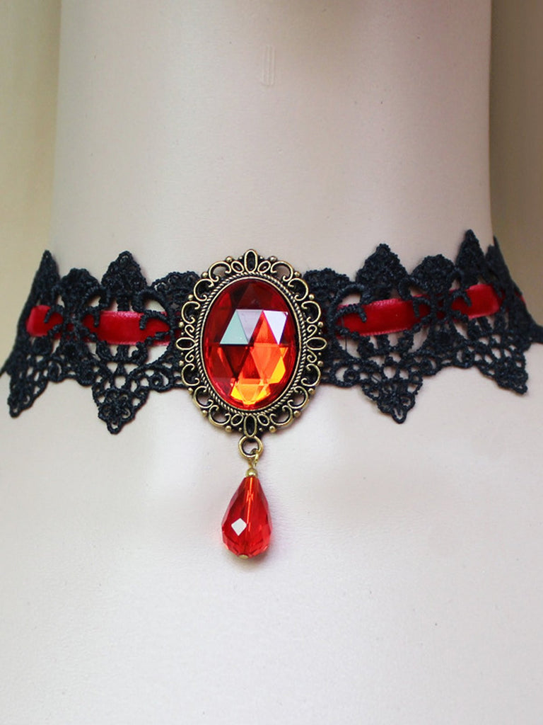 Steampunk Halloween Rhinestone Necklace