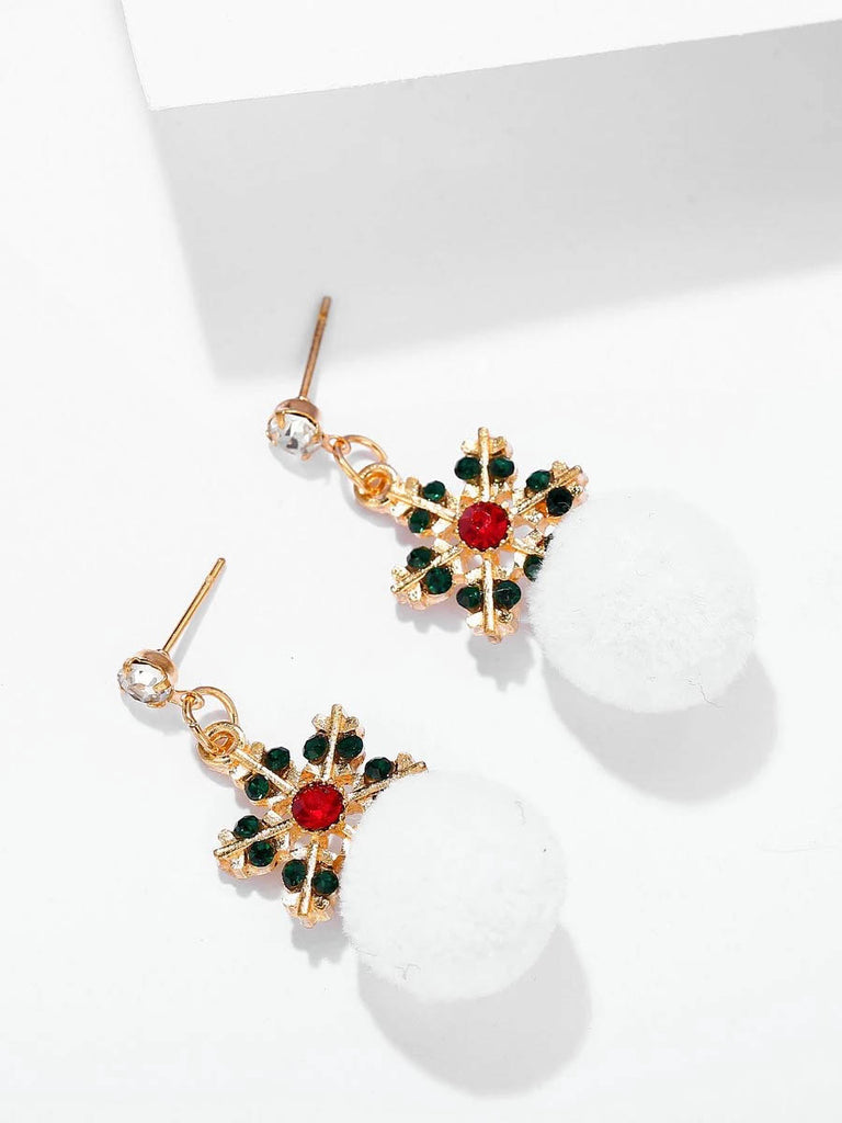 Christmas Snow Pom Pom Earrings