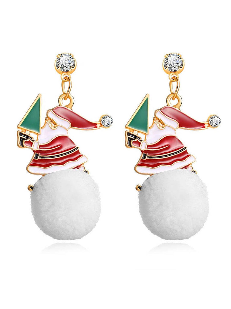 Christmas Santa Claus Pom Pom Earrings