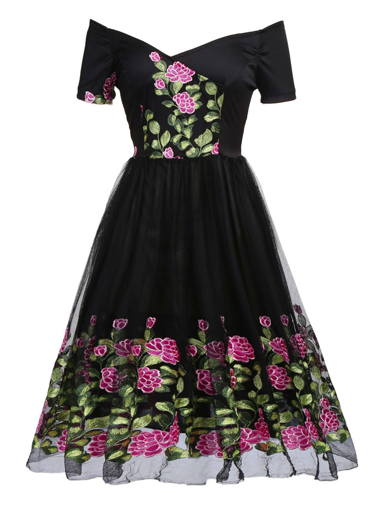 Black 1950s Peony Embroidery Dress