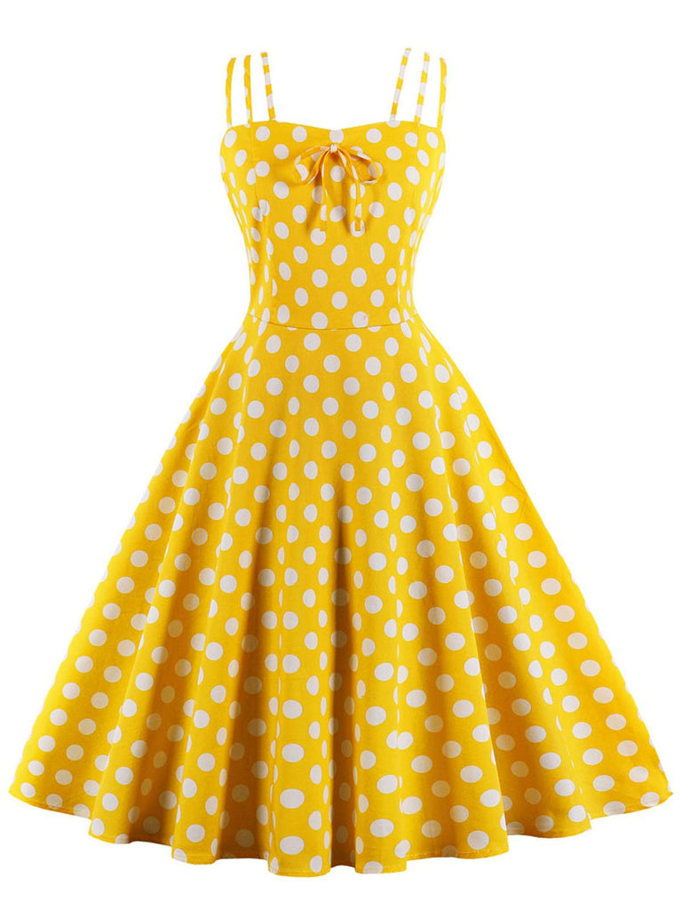Yellow 1950s Spaghetti Strap Dot Dress