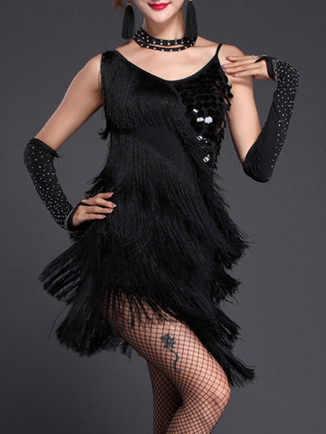 1920s Sequined Latin Dancing Flapper Dress