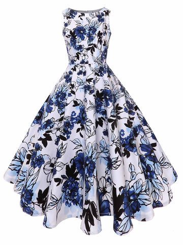 1950s Floral Pendulum Swing Dress