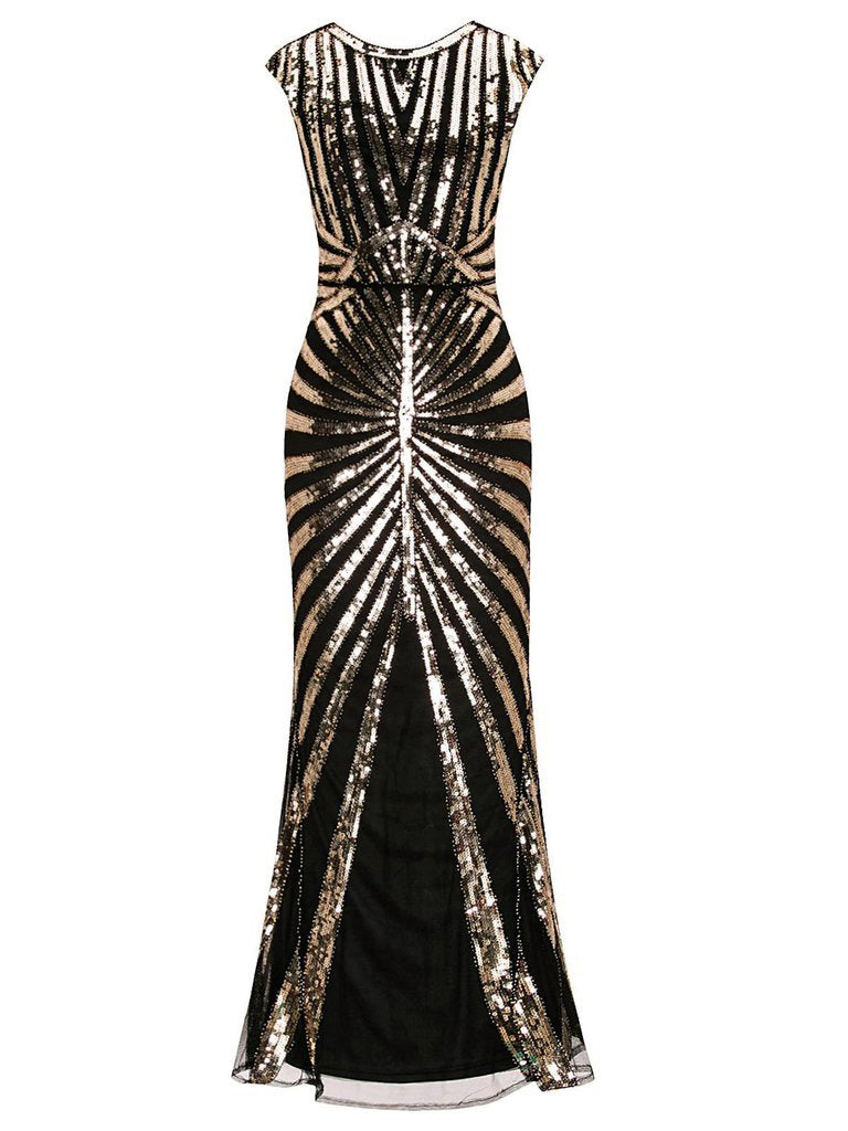 US Only Gold 1920s Sequin Art Deco Maxi Dress