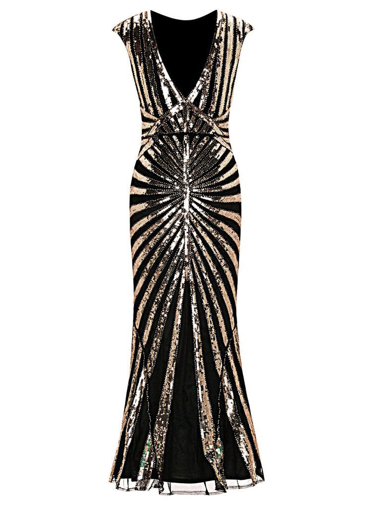 1920s Sequin Art Deco Maxi Dress