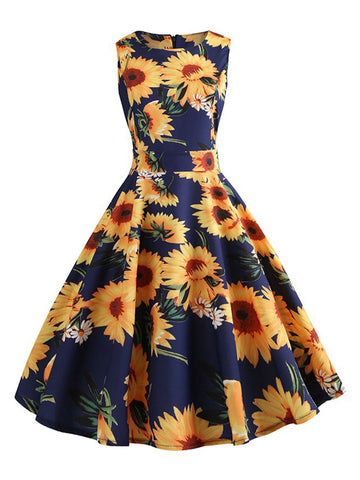 Yellow 1950s Sunflowers Print Swing Dress