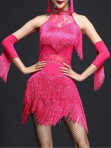 Rose Red 1920s Fringed Dancing Dress