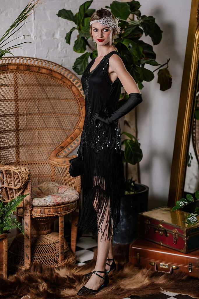 US Only Black 1920s Beaded Fringed Flapper Dress