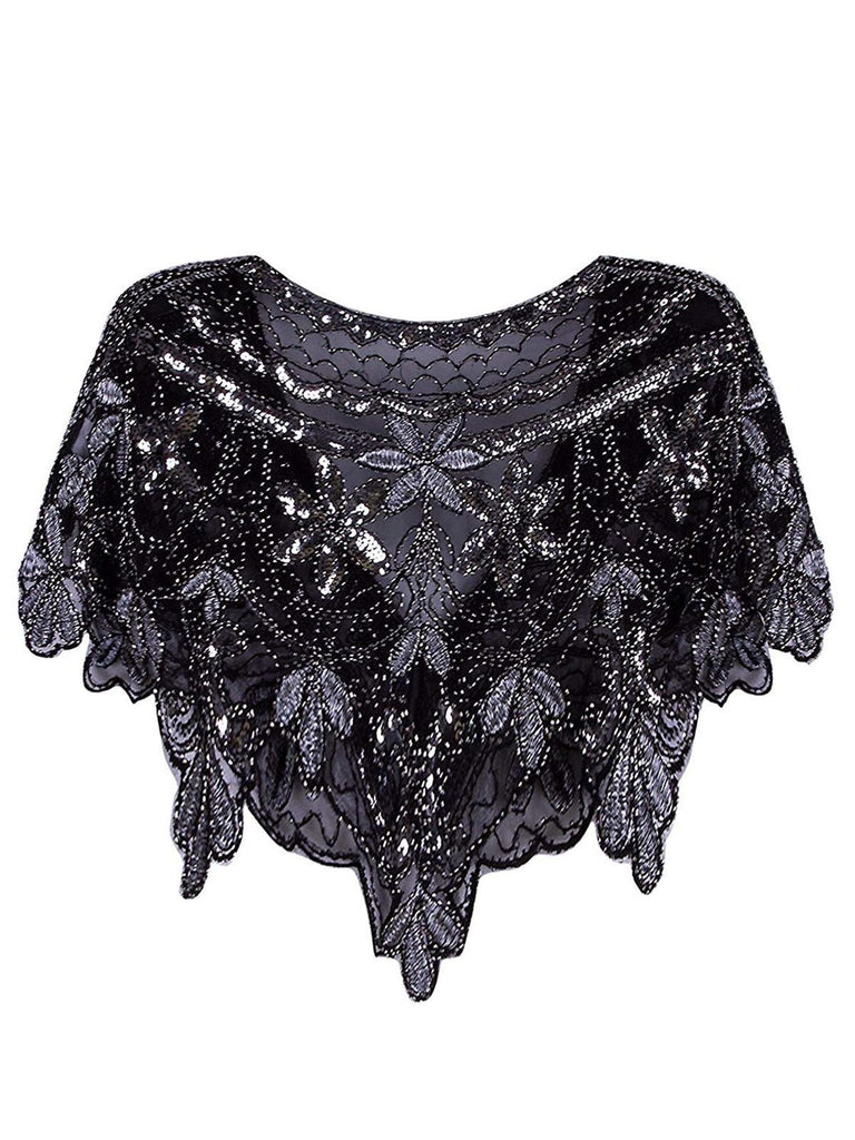 US Only 1920s Sequin Beaded Cape