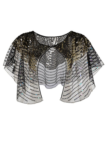 1920s Sequin Bridal Shawl Cape