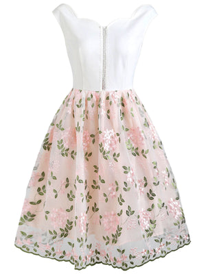 White 1950s Floral Embroidery Lace Dress