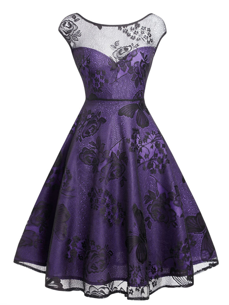 Purple 1950s Mesh Floral Swing Dress