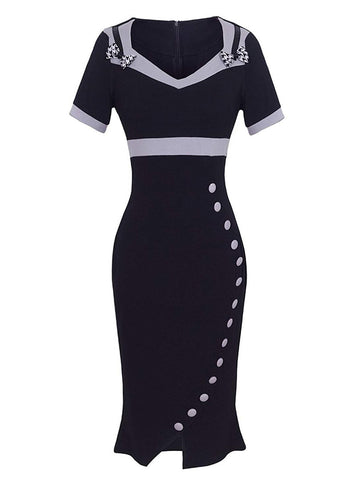 Black 1960s Square Neck Pin Up Dress
