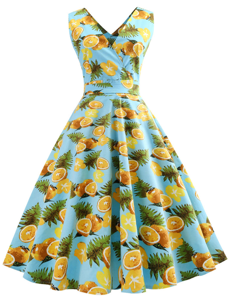 1950s Lemon Floral Swing Dress