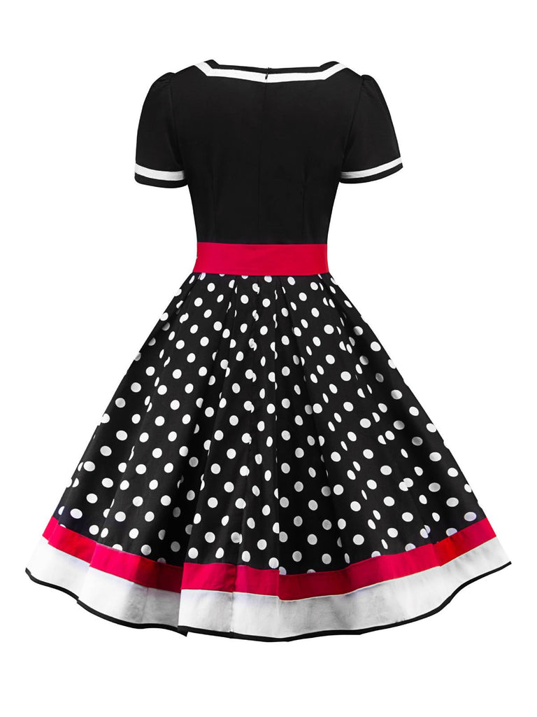 1950s Polka Dot Belted Patchwork Dress