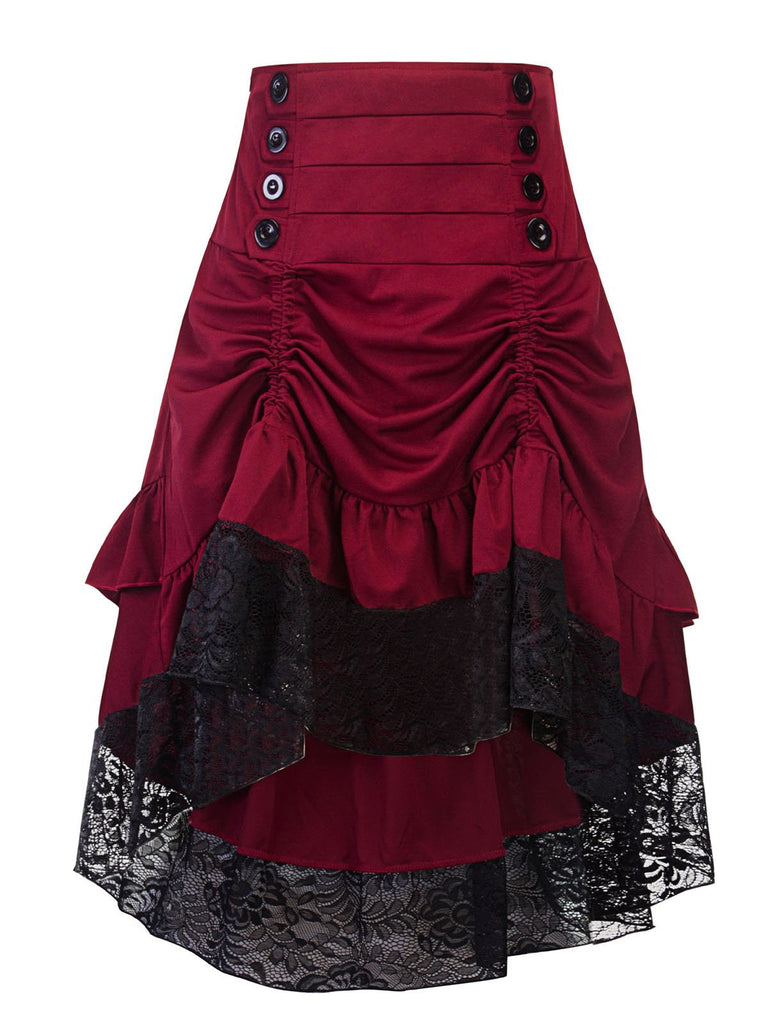 Wine red 1950s Lace Patchwork Skirt