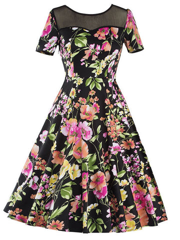Black 1950s Floral Patchwork Dress