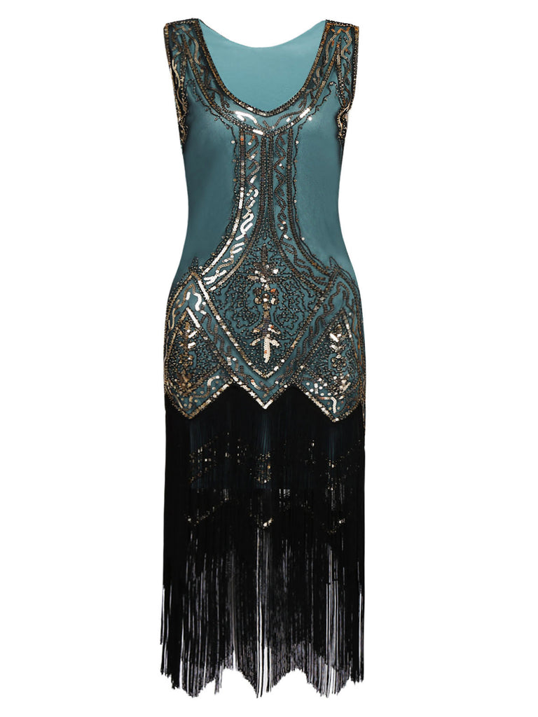 US Only Blue 1920s Beaded Fringed Dress