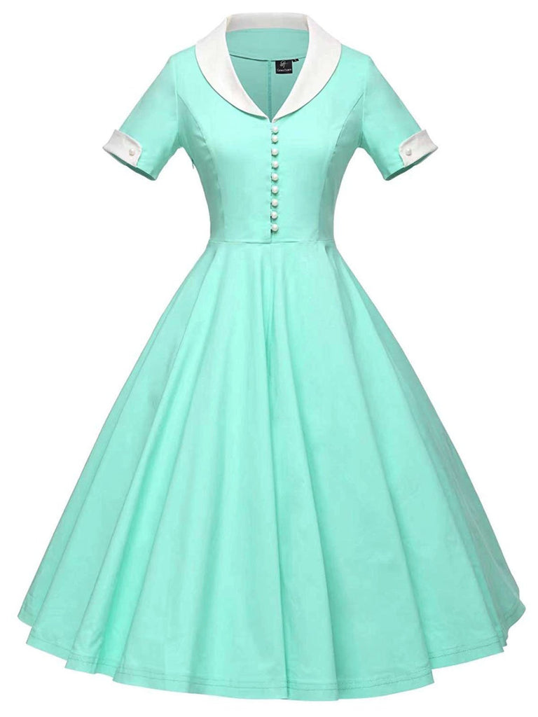 US Only 1950s Solid Turndown Collar Swing Dress