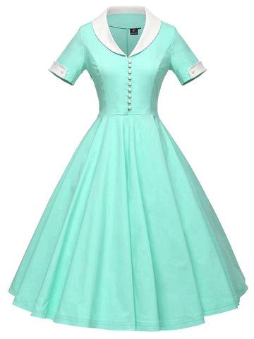 1950s Solid Turndown Collar Swing Dress