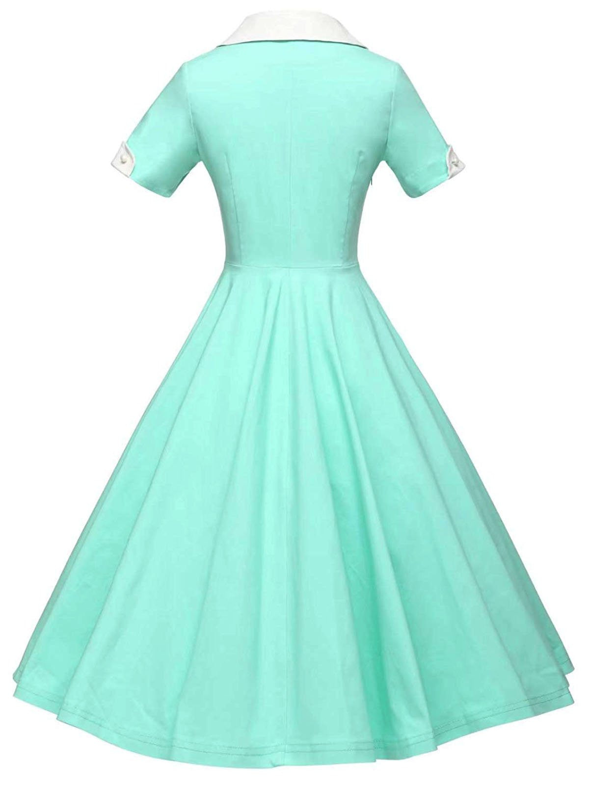 1950s Solid Turndown Collar Swing Dress – Retro Stage - Chic Vintage ...
