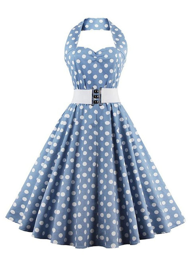 US Only Blue 1950s Polka Dot Halter Belted Dress
