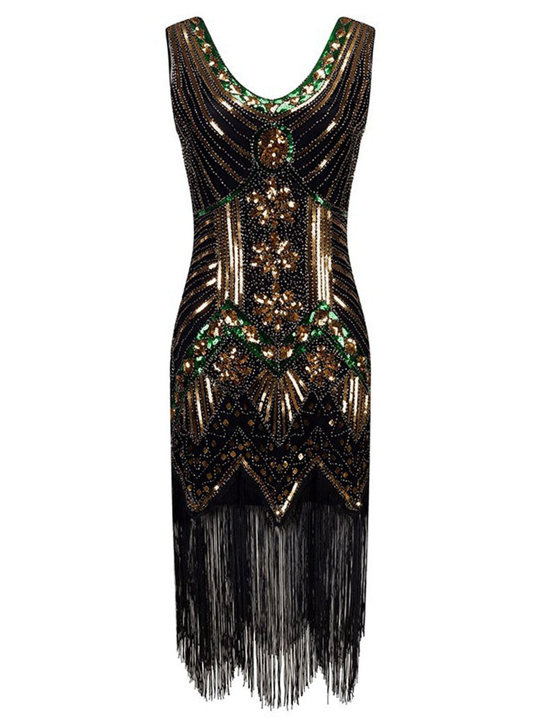 US Only Gold 1920s Beaded Fringed Flapper Dresses